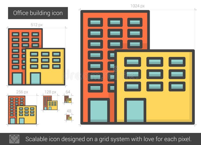 Kontorsbyggnadlinje symbol stock illustrationer