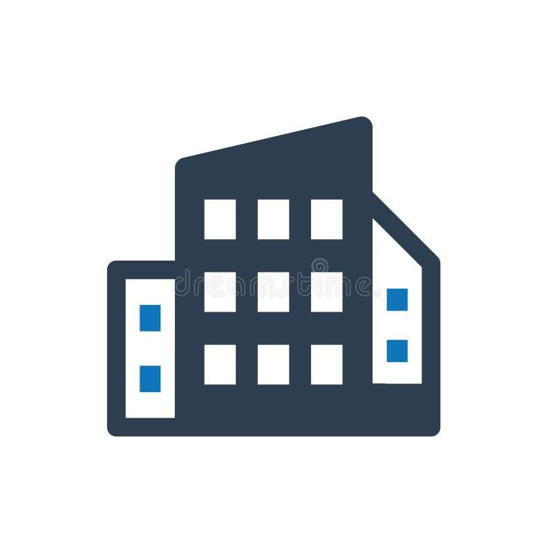 Kontorsbyggnadsymbol royaltyfri illustrationer
