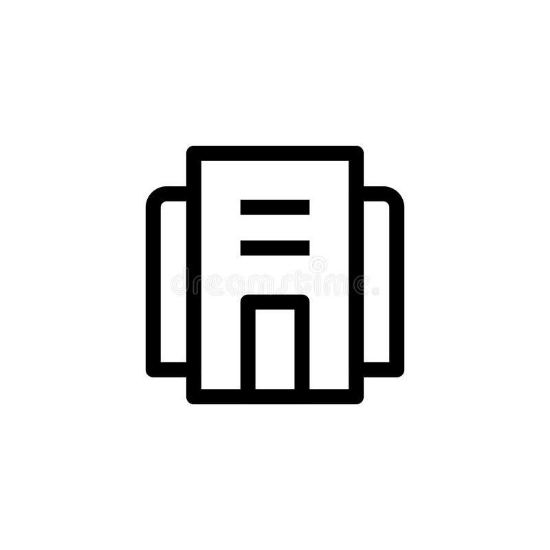 Kontorsbyggnadsymbolsdesign enkel ren linje för affärsledning för konst yrkesmässig design för illustration för vektor för begrep royaltyfri illustrationer