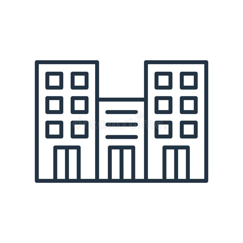 Kontorsbyggnadsymbolsvektor som isoleras på vit bakgrund, kontorsbyggnadtecken royaltyfri illustrationer