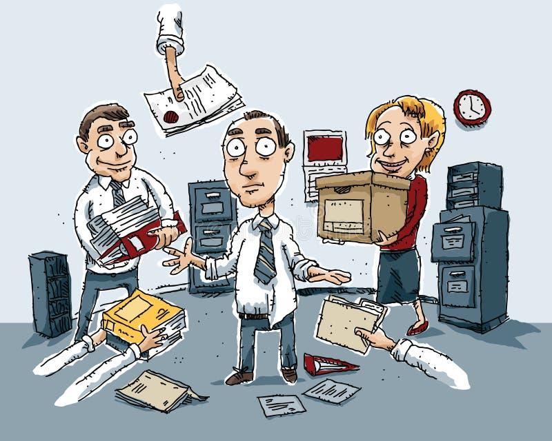 Kontorsförvirring stock illustrationer