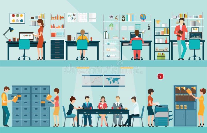 Kontorsfolk med kontorsskrivbordet stock illustrationer