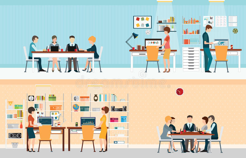 Kontorsfolk med kontorsskrivbordet vektor illustrationer
