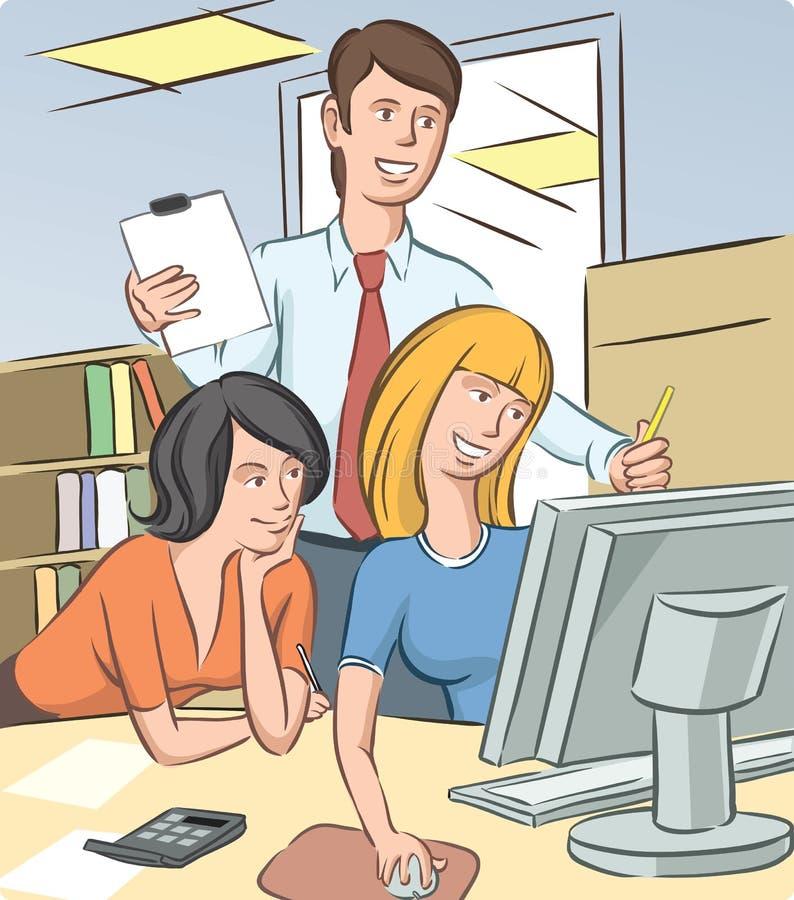 Kontorsfolk som diskuterar royaltyfri illustrationer
