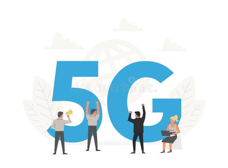 Kontorsfolk som står runt om stora bokstäver 5G Nätverksradio för femte utveckling, internetteknologi stock illustrationer
