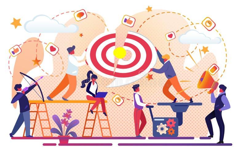 Kontorsfolk Team Working för affärsframgång stock illustrationer