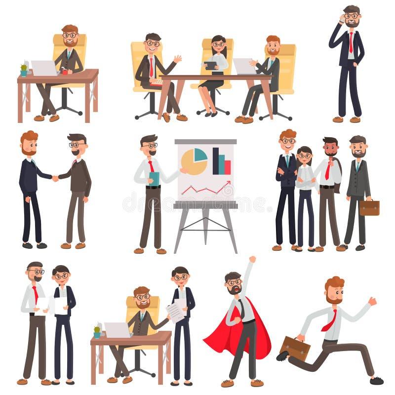 Kontorsfolket i olika affärslägen färgar den plana illustrationuppsättningen vektor illustrationer