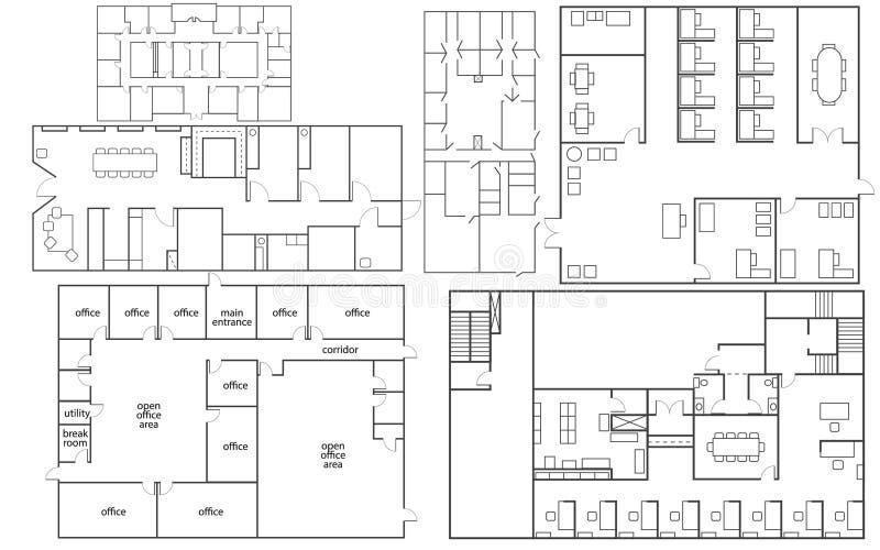 Kontorsgolvplan vektor illustrationer