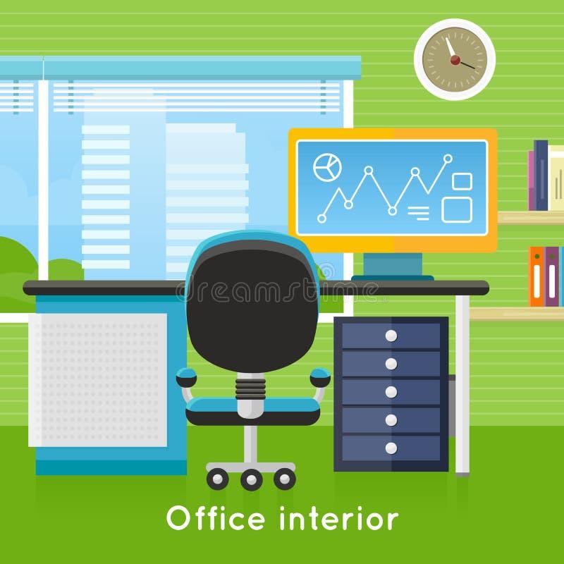 Kontorsinre i plan stil modern workspace royaltyfri illustrationer