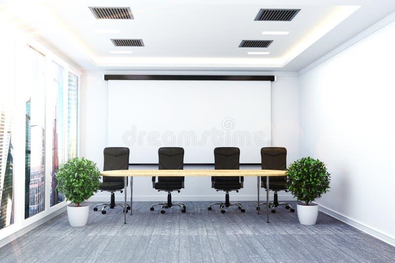 Kontorsinre med tabell- och stolpalnts på modernt rummöte framf?rande 3d stock illustrationer