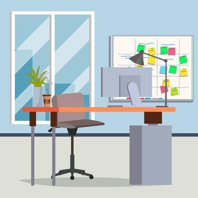 Kontorsinrevektor modern arbetsplats Inre kontorsrum Plan illustration vektor illustrationer