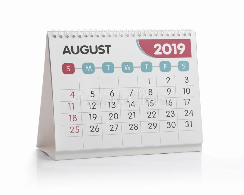 Kontorskalender 2019 Augusti royaltyfria foton