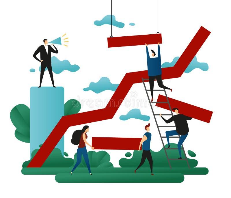 Kontorskooperativteamwork Framgångbyggnad Linje tillväxtriktning till en lyckad bana begrepp 3d royaltyfri illustrationer