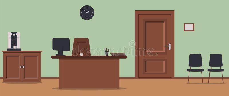 Kontorskorridor på grön bakgrund: väntande område för besökare med stolar och träbräden på golv Kaffe-maskinen, dörr till vektor illustrationer