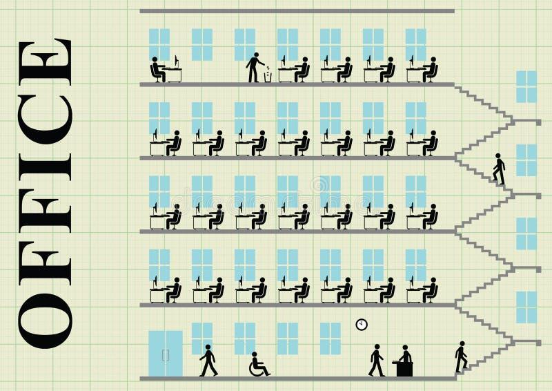 Kontorskvarter och arbetare stock illustrationer