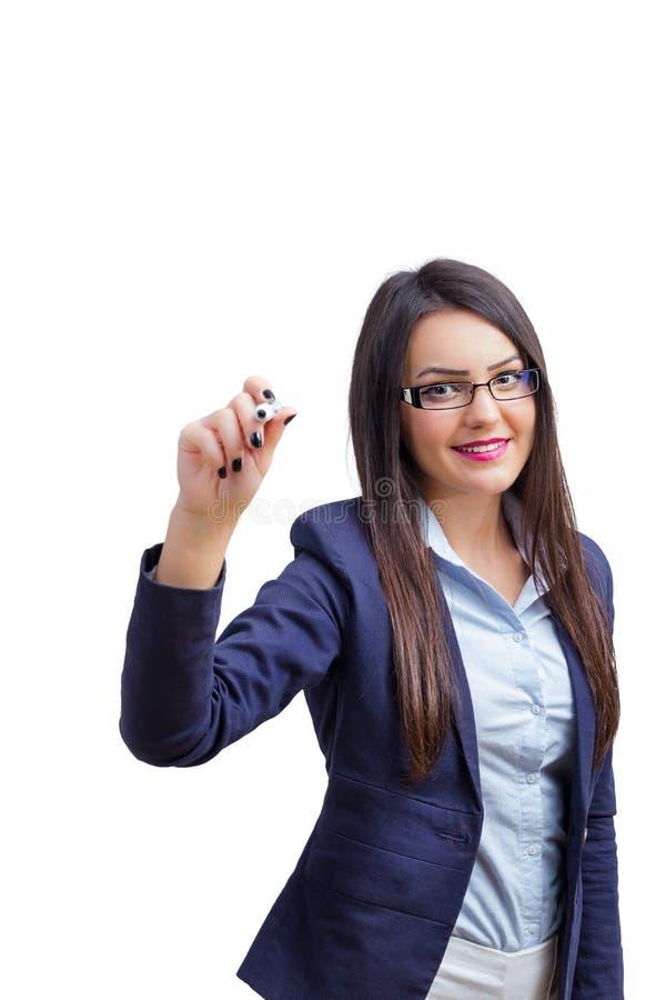 Kontorskvinnahandstil arkivfoto