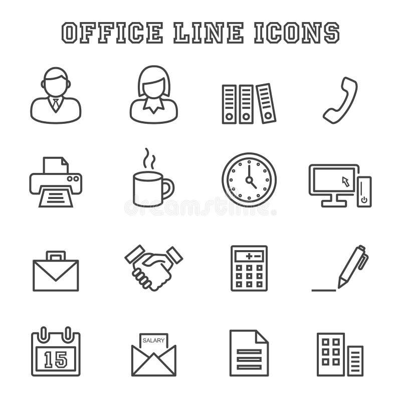 Kontorslinje symboler vektor illustrationer