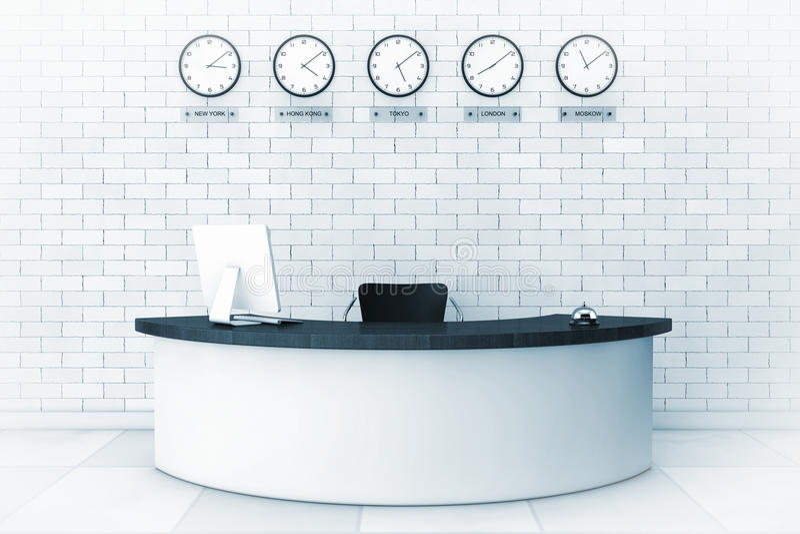 Kontorslobby med ett mottagandeskrivbord i blåtttangent framförande 3d royaltyfri illustrationer