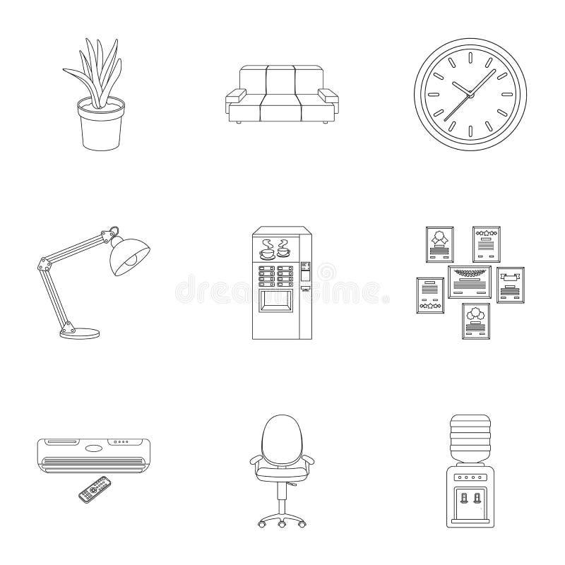 Kontorsmöblemang och fastställda symboler för inre i översikt utformar Stor samling av symbolet för vektor för kontorsmöblemang o royaltyfri illustrationer