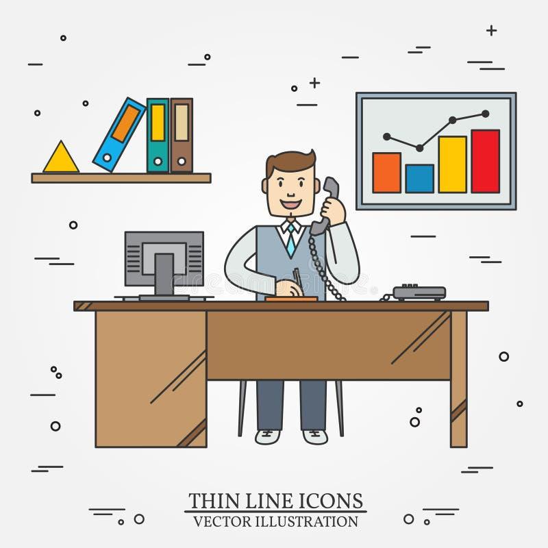 Kontorsman, affärsman Gör linjen symbolen för rengöringsduk och mobil tunnare stock illustrationer