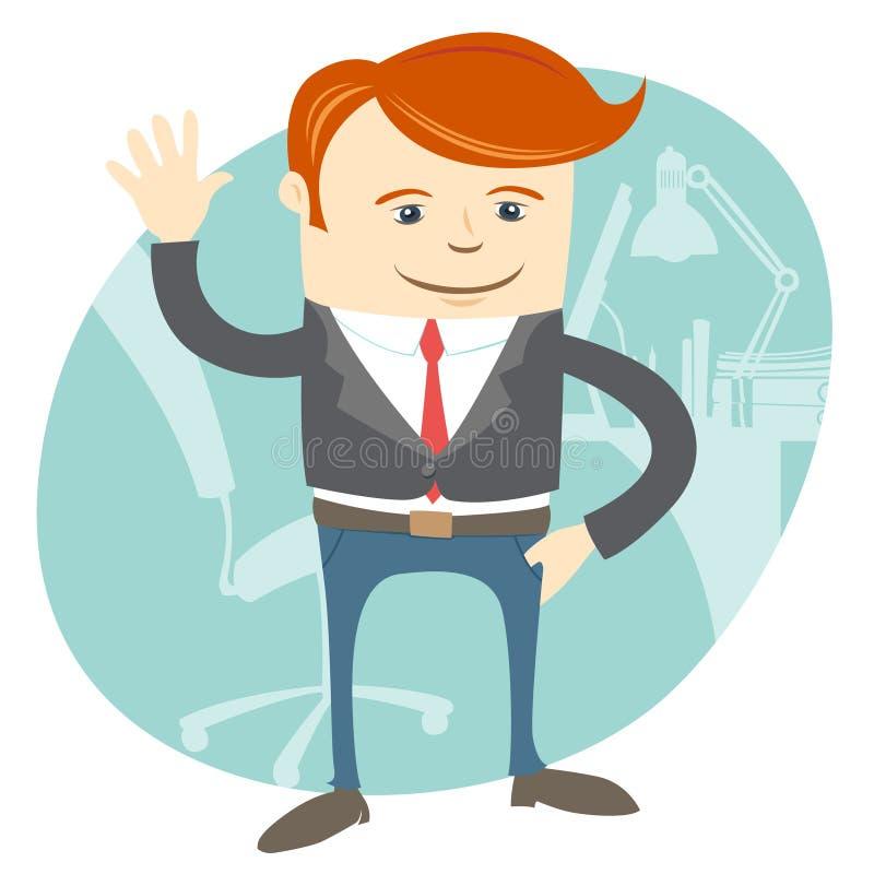 Kontorsman som framme vinkar av hans arbetsplats stock illustrationer