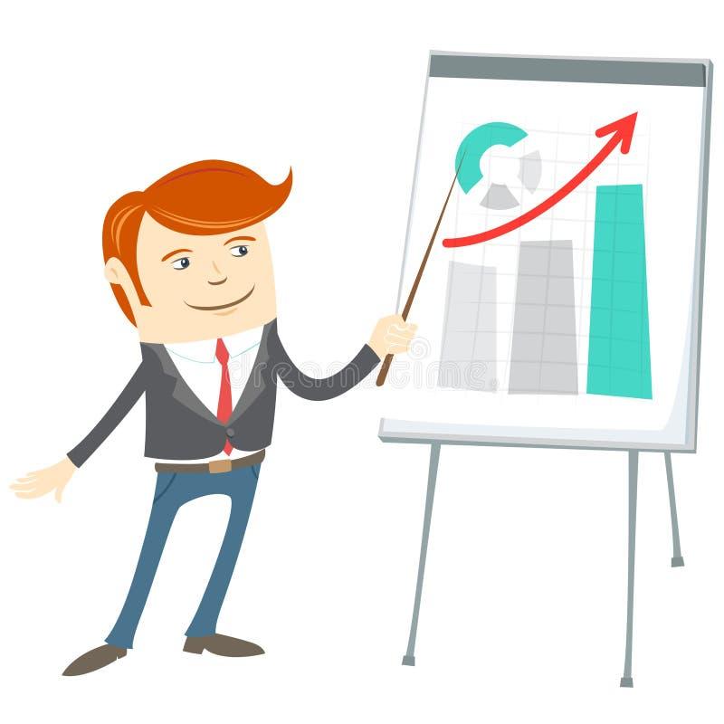 Kontorsman som presentating en graf på flipchart stock illustrationer