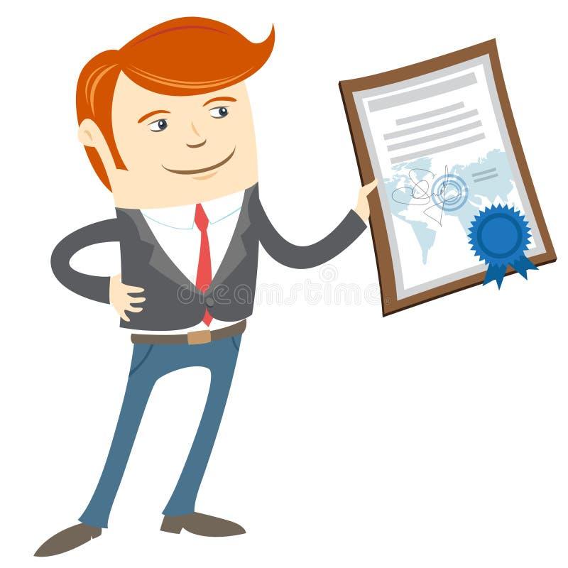 Kontorsman som visar ett diplom stock illustrationer