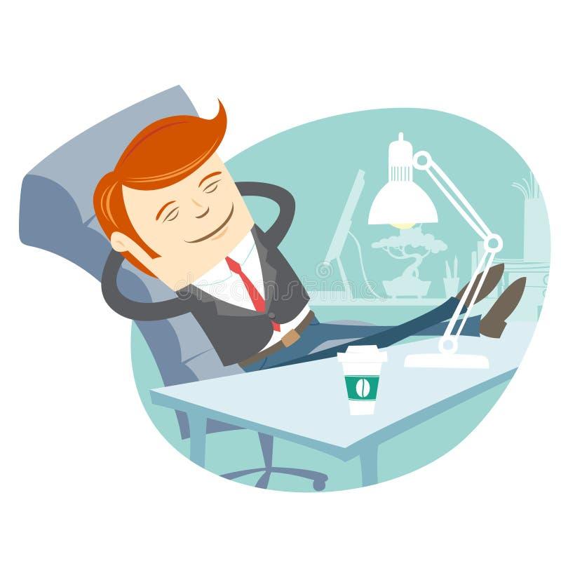 Kontorsmansammanträde med fot på hans funktionsdugliga skrivbord stock illustrationer
