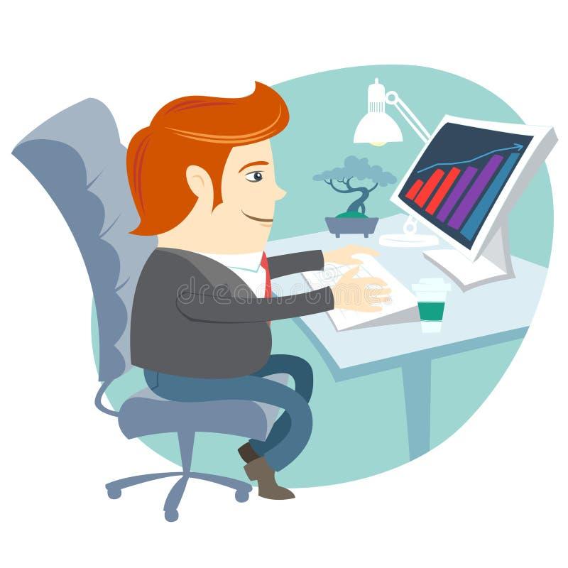 Kontorsmansammanträde på hans funktionsdugliga skrivbord royaltyfri illustrationer