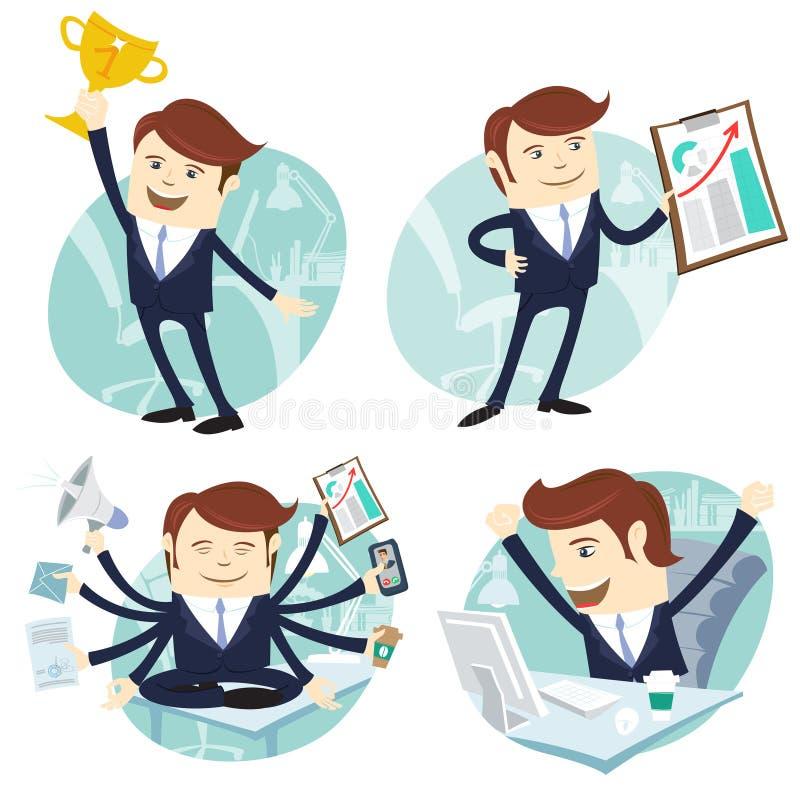 Kontorsmanuppsättning: uppvisning av en graf, lycklig arbetare på hans skrivbord som är upptaget stock illustrationer
