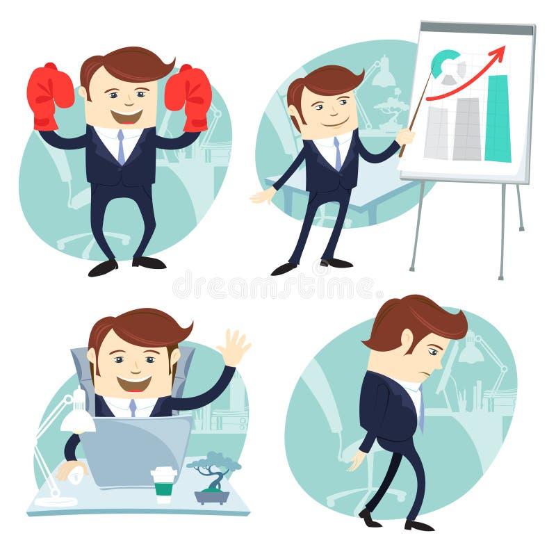 Kontorsmanuppsättning: uppvisning av en presentation, lycklig arbetare på hans skrivbord vektor illustrationer