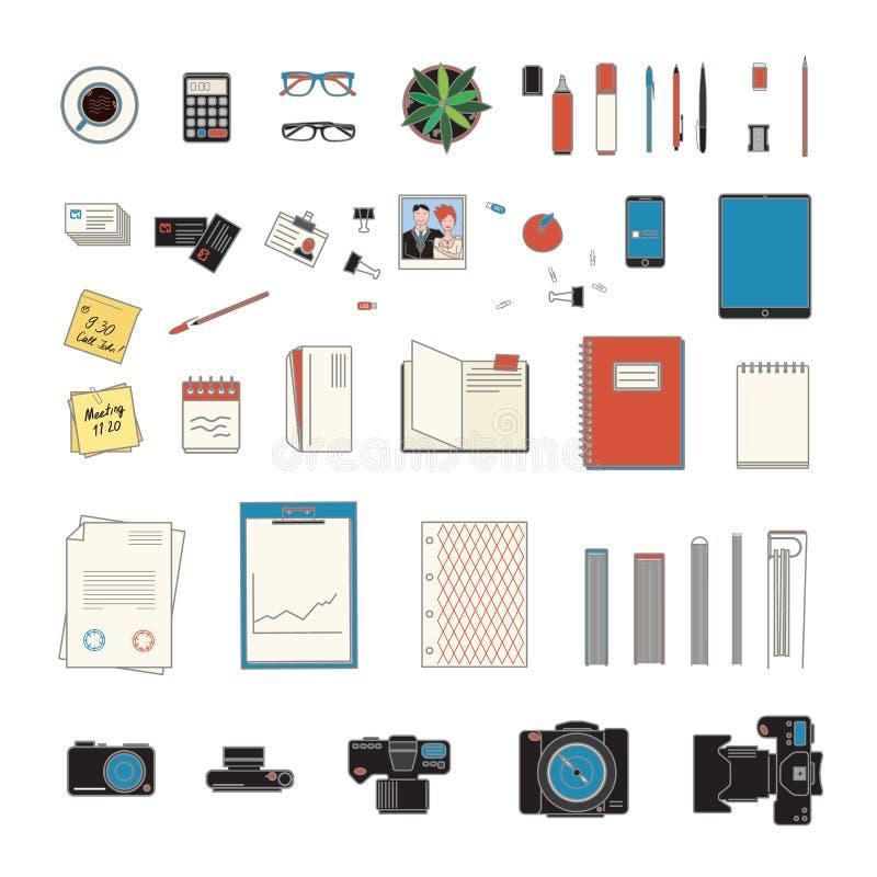 Kontorsmaterialsamling stock illustrationer