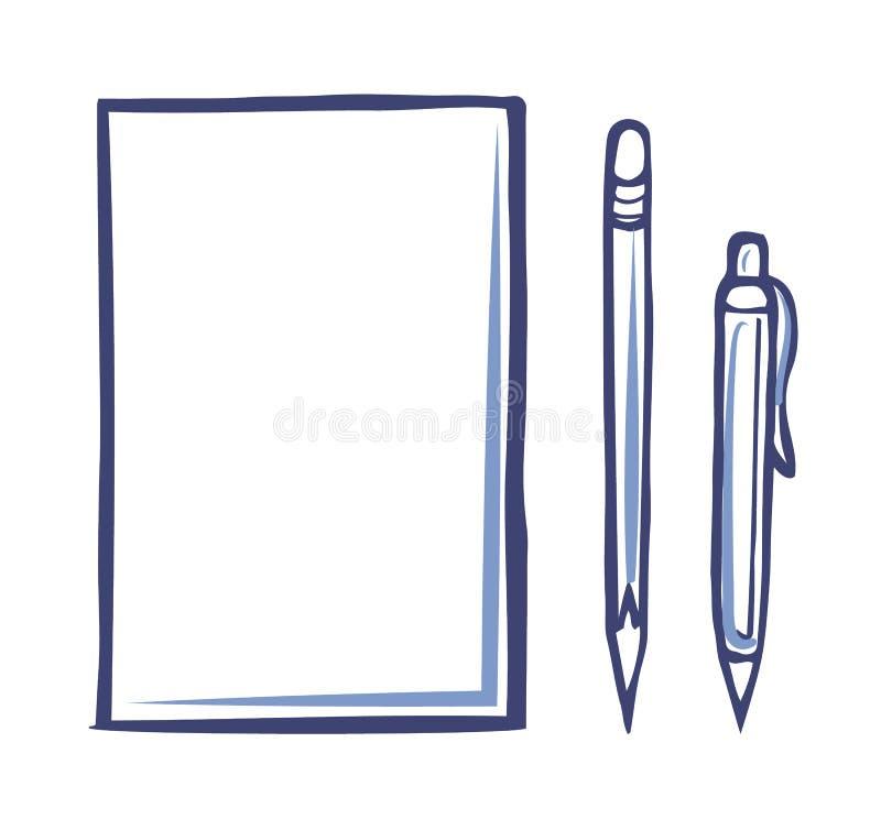 Kontorspapperssymbol och skarp blyertspenna Pen Isolated royaltyfri illustrationer