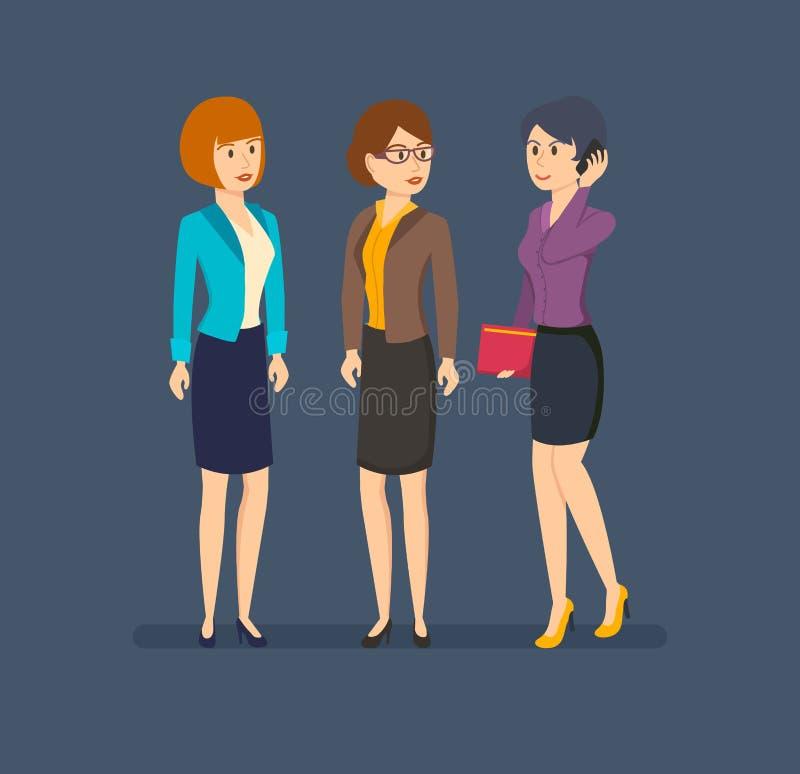 Kontorspersonal, arbete med dokument och samtal på telefonen stock illustrationer
