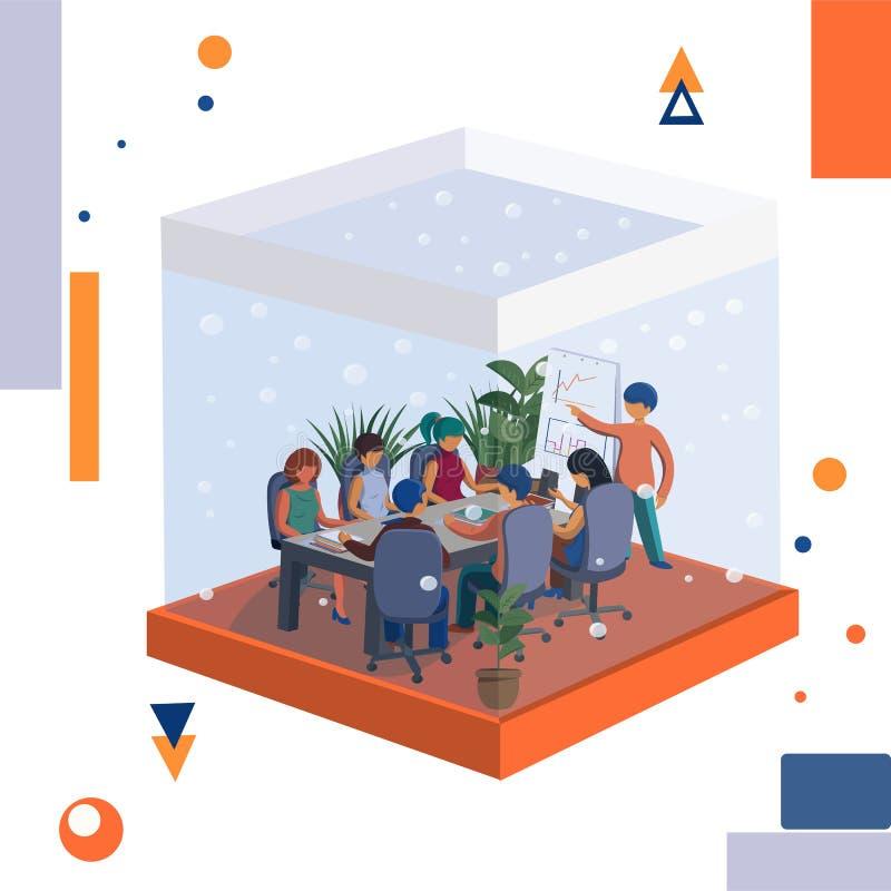 Kontorsplankton Möta personalen i kontoret gilla ett akvarium stock illustrationer