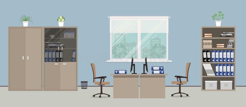 Kontorsrum i en blå färg royaltyfri illustrationer