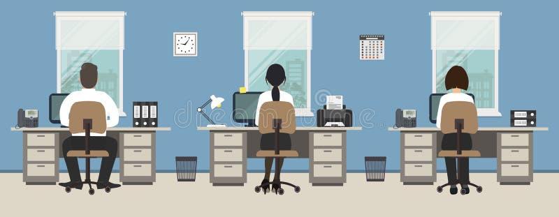 Kontorsrum i en blå färg Kontorsarbetare sitter på skrivborden stock illustrationer