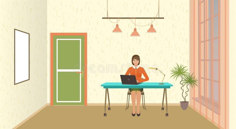 Kontorsruminre med funktionsduglig anställd på tabellen Ung kvinna på workspacen med bärbara datorn vektor illustrationer