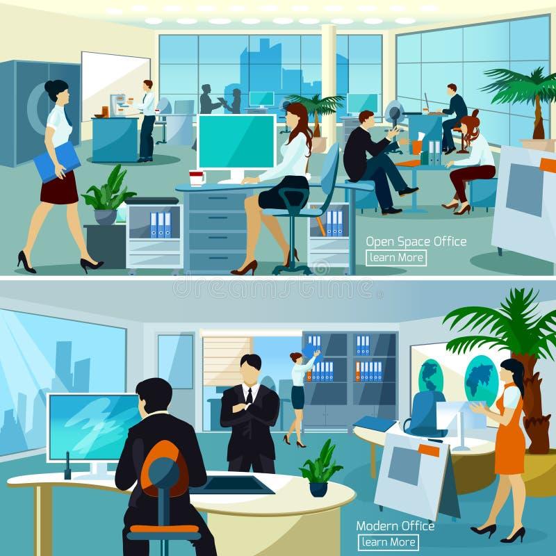 Kontorssammansättningar med funktionsdugligt folk vektor illustrationer