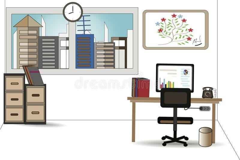 Kontorsskrivbord, datorvektordiagram - begrepp av affären royaltyfri illustrationer