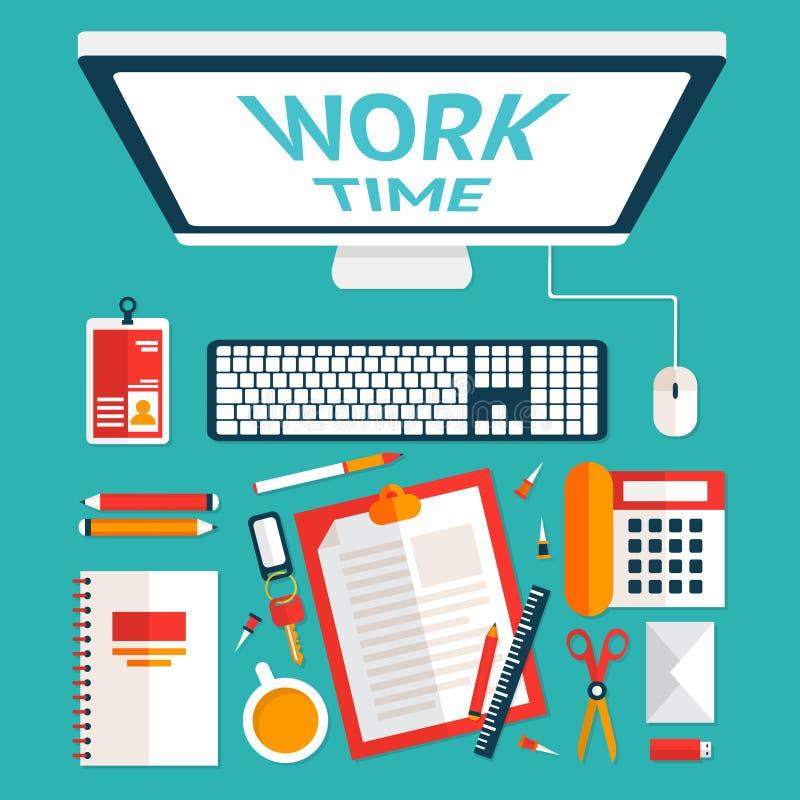 Kontorsskrivbord för bästa sikt stock illustrationer