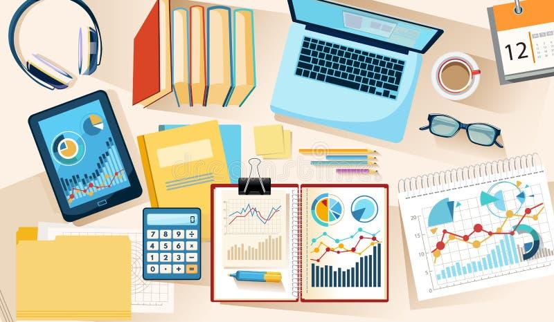 Kontorsskrivbord från ovannämnt arbete med information om data stock illustrationer