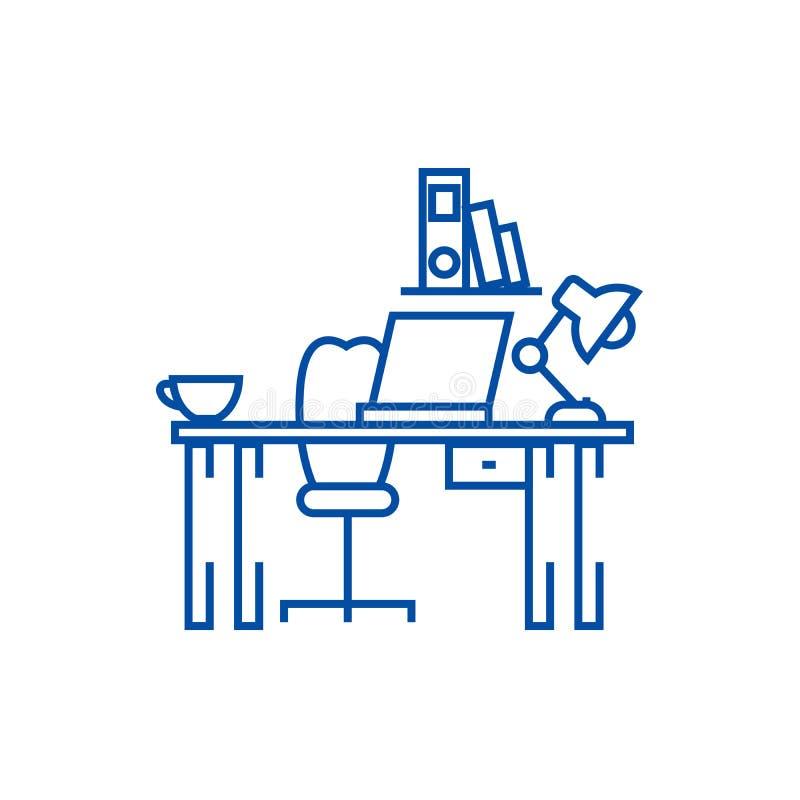 Kontorsskrivbord, hem- skrivbordlinje symbolsbegrepp Kontorsskrivbord, plant vektorsymbol för hem- skrivbord, tecken, översiktsil royaltyfri illustrationer