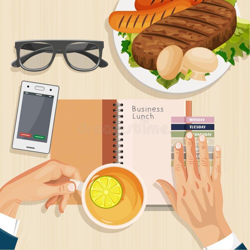 Kontorsskrivbord med anteckningsboken, glasögon, kaffe och bärbara datorn lunch för upplagan för affärskaffekoppen öppnade behänd royaltyfri illustrationer