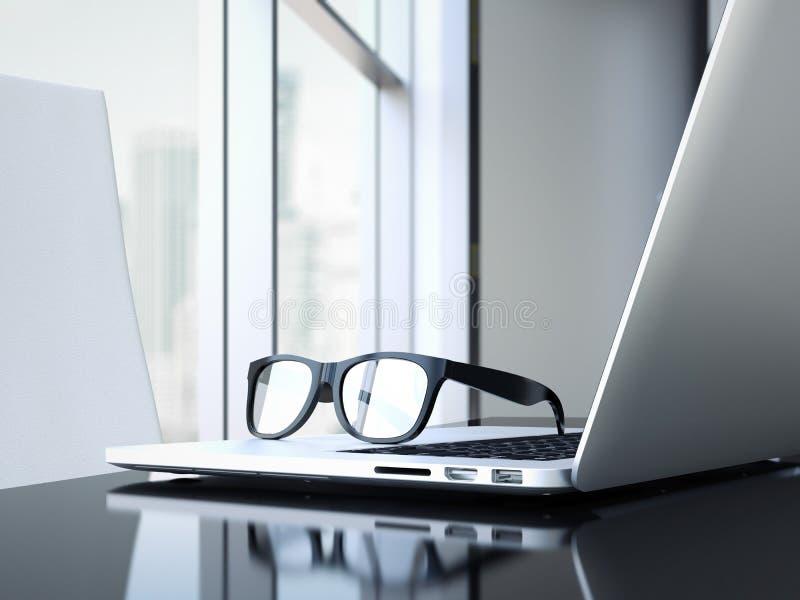 Download Kontorsskrivbord Med Bärbara Datorn Och Exponeringsglas Framförande 3d Fotografering för Bildbyråer - Bild av close, objekt: 76704215