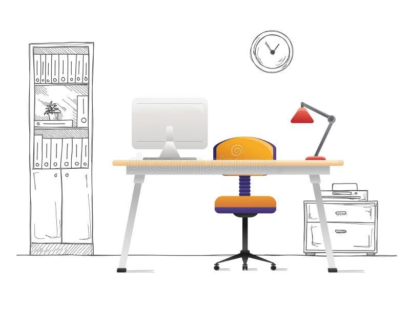 Kontorsstol, skrivbord, olika objekt p? tabellen Workspace i plan stil vektor royaltyfri illustrationer