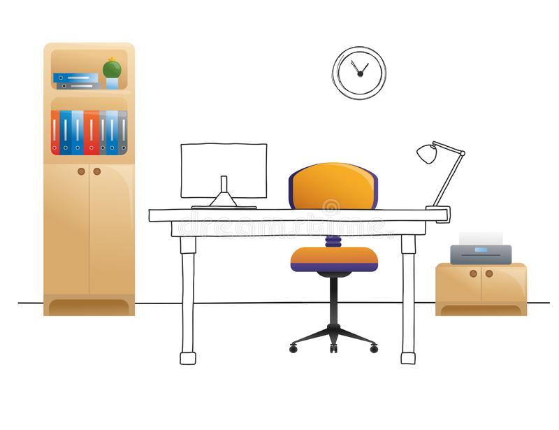 Kontorsstol, skrivbord, olika objekt p? tabellen Workspace i plan stil vektor vektor illustrationer