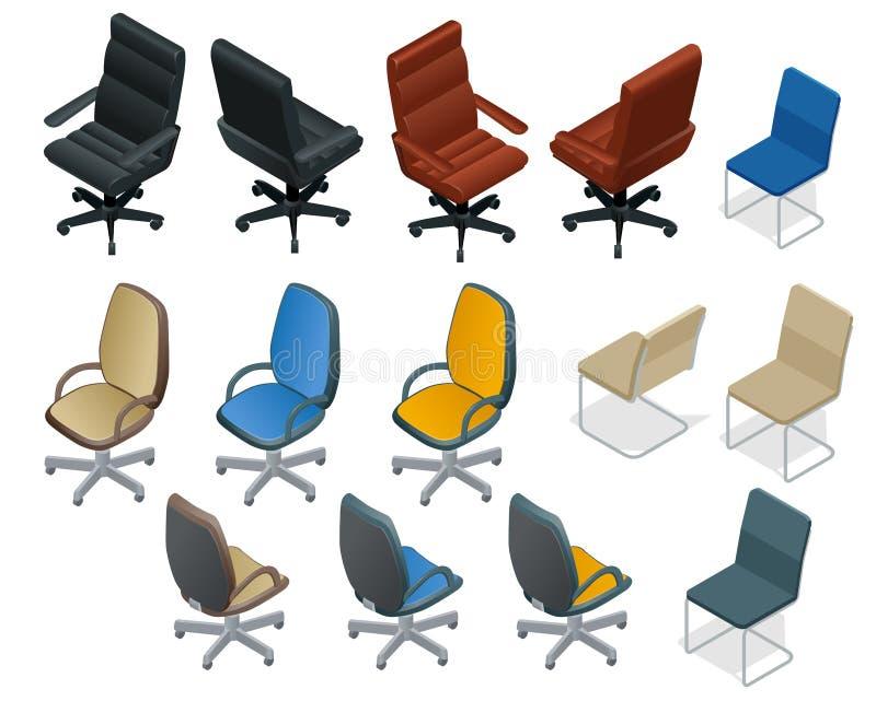 Kontorsstol som isoleras på vit bakgrund Isometrisk vektoruppsättning för stol och för fåtölj chairs modernt Plan vektor 3d royaltyfri illustrationer