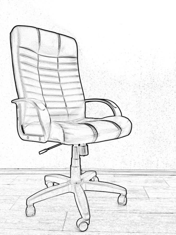 Kontorsstol, svartvit teckning, närbild, bearbeta för foto royaltyfria bilder