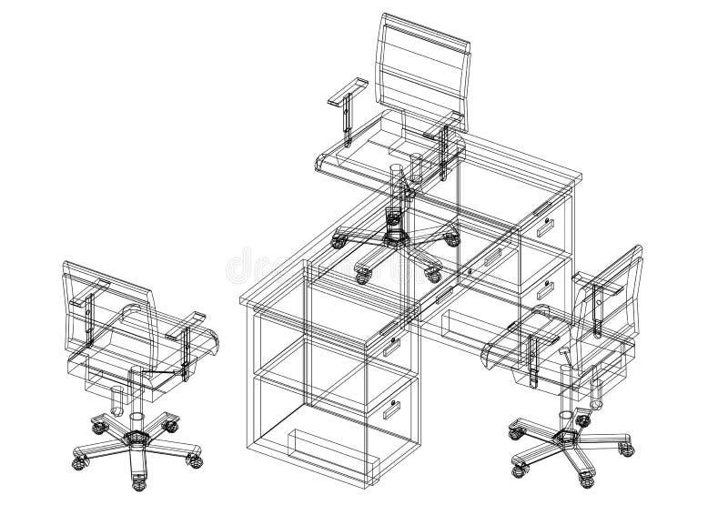 Kontorsstolar och tabellen 3D gör en skiss av - isolerat stock illustrationer